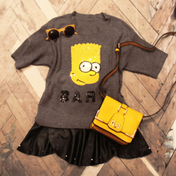 fashion coolture blogger bag yellow shoulder bag grey sweater sweater skirt sunglasses