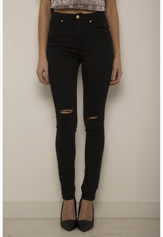 High waisted ripped skinny jeans in black