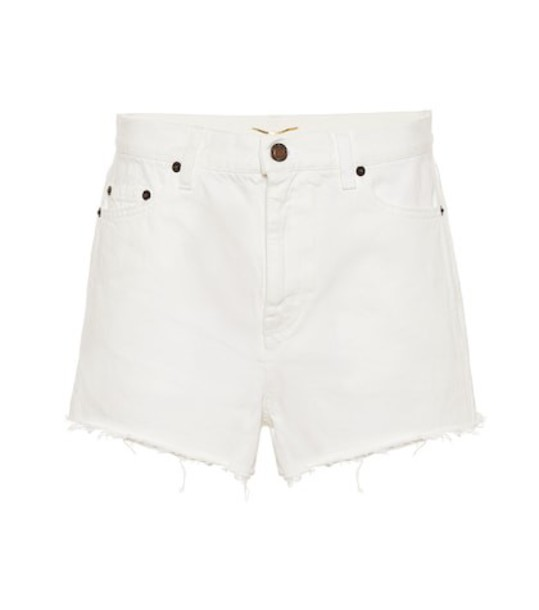 Saint Laurent High-rise enim shorts in white