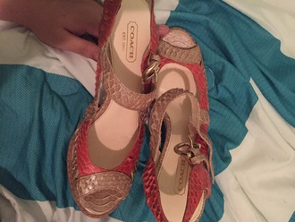 shoes coach high heels beige