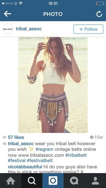 belt tribal pattern boho boho coins aztec hippie indie boho