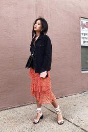 jacket,sirt,denim,black jacket,black denim,plaid skirt,sandals,white sandals