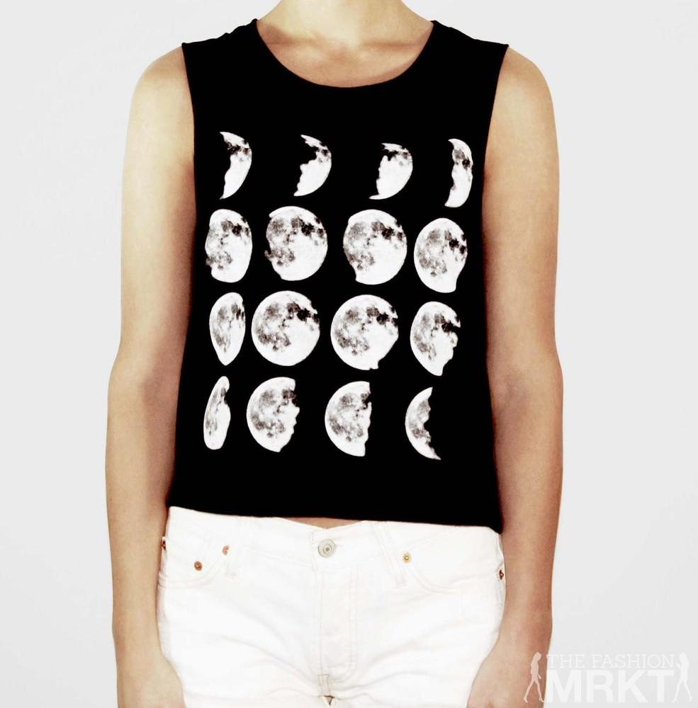 Moon Phases Cropped Tank Black|White / TheFashionMRKT