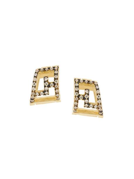 Polina Sapouna Ellis women earrings gold grey metallic jewels