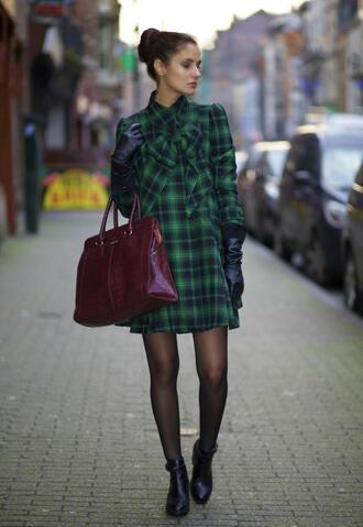 from brussels with love blogger gloves tartan winter dress green dress dress shoes bag
