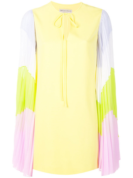 Emilio Pucci dress women spandex silk yellow orange
