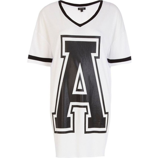 River Island Black and white A print varsity t-shirt dress - Polyvore