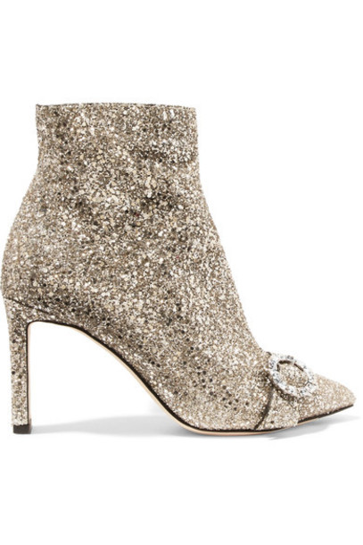 Jimmy Choo leather ankle boots embellished ankle boots silver leather shoes