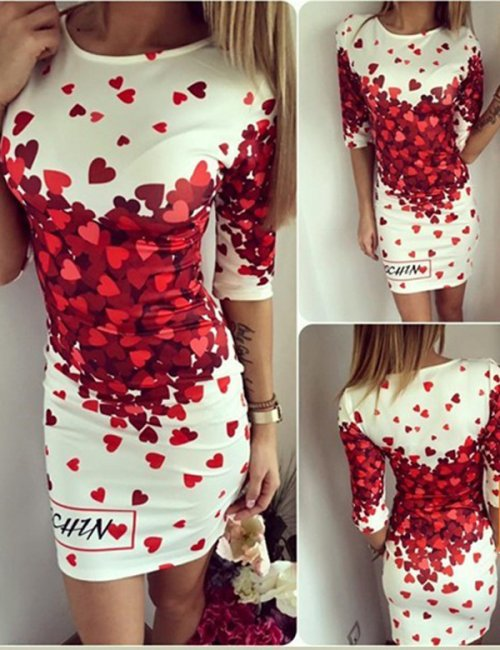 Women's Lovely Hearts Printed Bodycon Dress