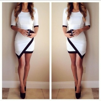 black and white black and white dress asymmetrical dress asymmetrical three-quarter sleeves black pumps
