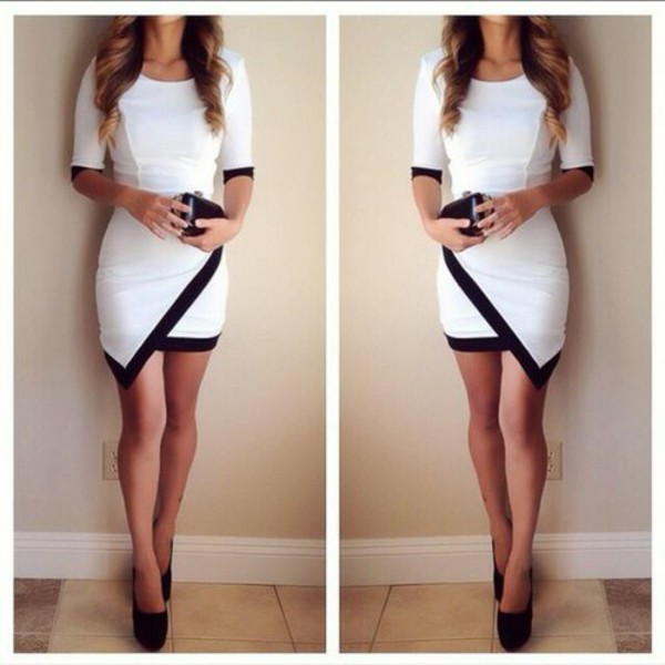 dress asymmetrical dress black white short mini lined knee length long sleeves cross over white lined long sleeve dress white dress black dress bodycon dress wrap skirt three-quarter sleeves angled color block dress boho dress prom dress lace dress red dress cute dress little black dress asymmetrical asymmetric prom dresses sexy sexy dress outfit outfit idea fall outfits our favorite home decor 2015