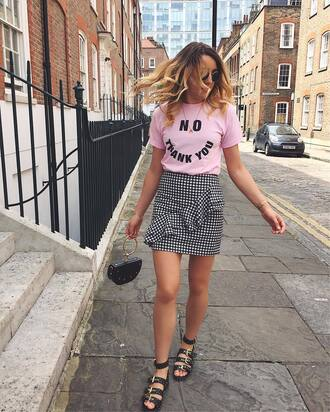 skirt tumblr mini skirt gingham gingham skirt sandals flat sandals t-shirt pink t-shirt bag shoes