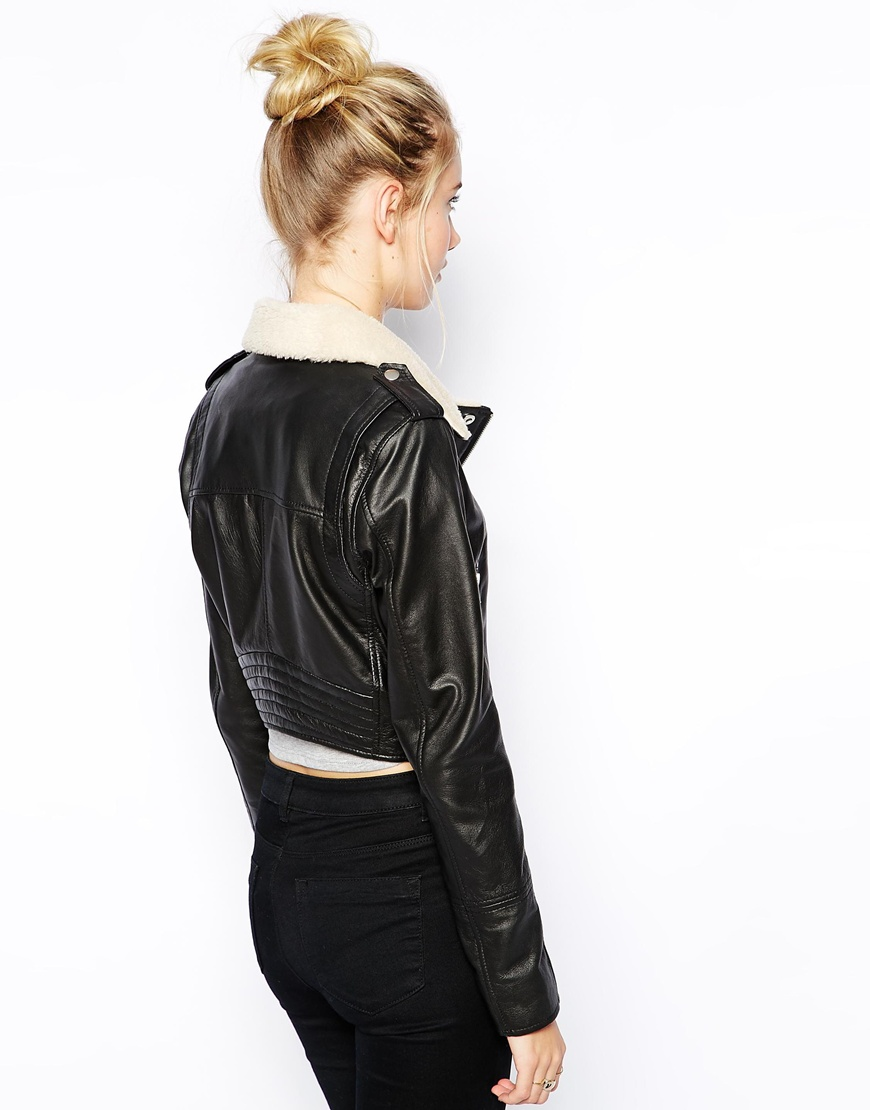 Urbancode Leather Biker Jacket With Borg Collar at asos.com