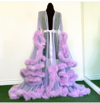 dress purple fluffy seethrough underwear idk pajamas lavender gown lavender robe robe fur robe jacket black lingerie pj's sexy sheer feathers dressing robe house robe funny glitz fabulous glamour