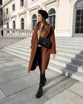 bag,chanel bag,black boots,black pants,brown coat,turtleneck,beret