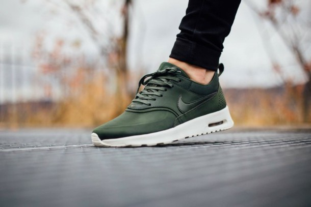 Wmns Nike Air Max Thea PRM Carbon Green Gold Womens Running Shoes 616723-304
