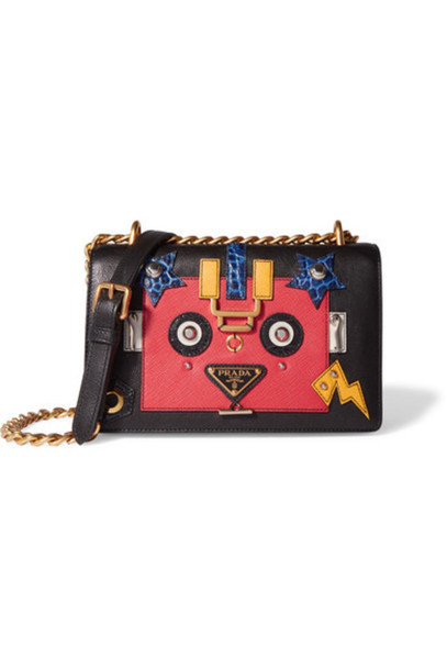 Prada - Robot Appliquéd Textured And Croc-effect Leather Shoulder Bag - Black