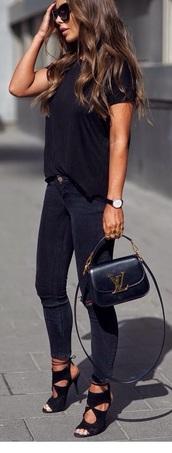 shirt,black t-shirt,shoes,black  high heels,black heels,suede shoes,ankle strap heels,top,jeans,cut-out,cut out shoes,black,suede,peep toe heels,lace up,lace-up shoes,heels,bag,skinny jeans,black skinny jeans,cat eye,leather purse,crossbody bag,louis vuitton,louis vuitton bag,black stilettos,black sunglasses,oversized sunglasses,ankle length jeans