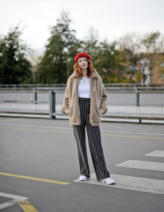 jacket tumblr fuzzy jacket nude jacket top white top beret red hat hat pants wide-leg pants stripes striped pants sneakers white sneakers