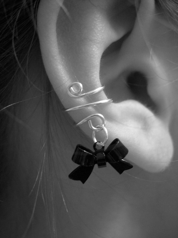 Ear Cuff Dainty and Feminine Silver Cuff with Gun by jhammerberg