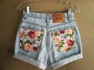 shorts floral high waisted levi's shorts levi's shorts denim flowered shorts floralshorts denim shorts cute cute shorts fashion light denim brand short jeans