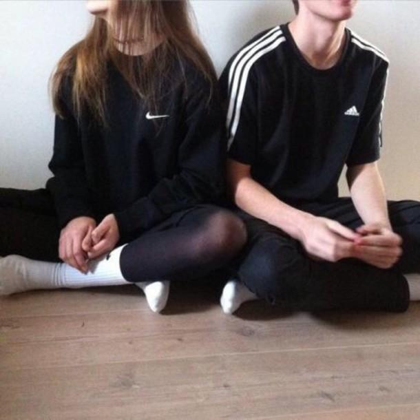 shirt nike adidas pale couple indie sweater black sweatshirt t-shirt