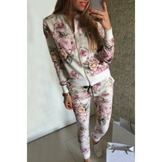sweater floral zip jacket floral white back to school jumpsuit floral pants pink floral casual dope hipster selfie instagram blogger outfit trendy winter outfits winter sweater fall outfits fall sweater joggers tracksuit white