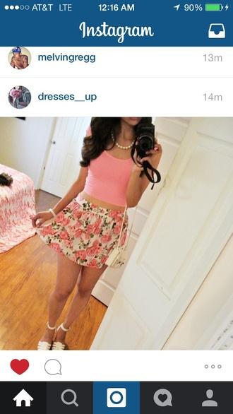 skirt pink skirt floral skirt