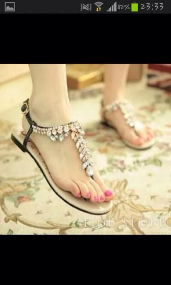 aeacbc669e399 Women s Summer Bling Rhinestones Strap Open Toe Silver Flat Sandals ...