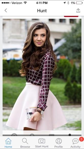 skirt checkered pink skirt skater skirt blouse graphic shirt