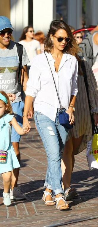 shoes sandals shirt jessica alba jeans