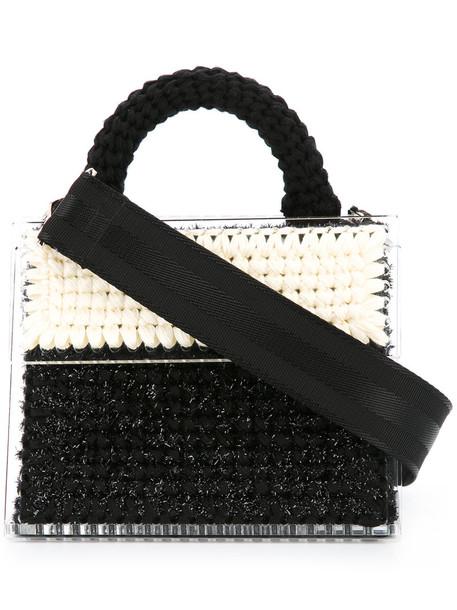 metallic women black bag