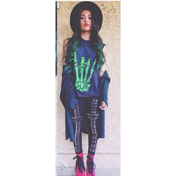 shirt rock skeleton green muscle tee black punk ootd fashion