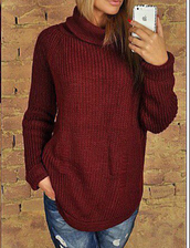 sweater,zefinka,polo neck,sweatshirt,knitwear,knitted sweater,outfit,burgundy,warm,warm sweater
