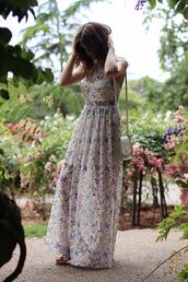 love of cloth,blogger,dress,maxi dress,floral dress,shoulder bag,floral maxi dress