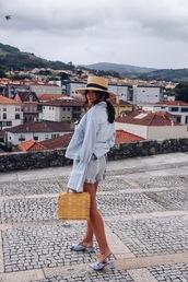 jacket,denim jacket,light blue,bell sleeves,mules,short shorts,hat,straw hat,straw bag