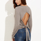Heather grey cutout tied back crop t-shirt -shein(sheinside)