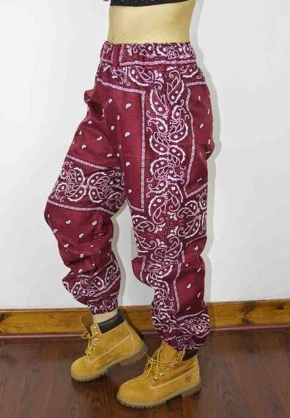 pants bergundy bandana pants
