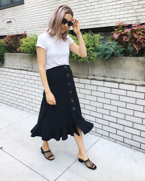 skirt midi skirt mules black mules shoes top white top sunglasses