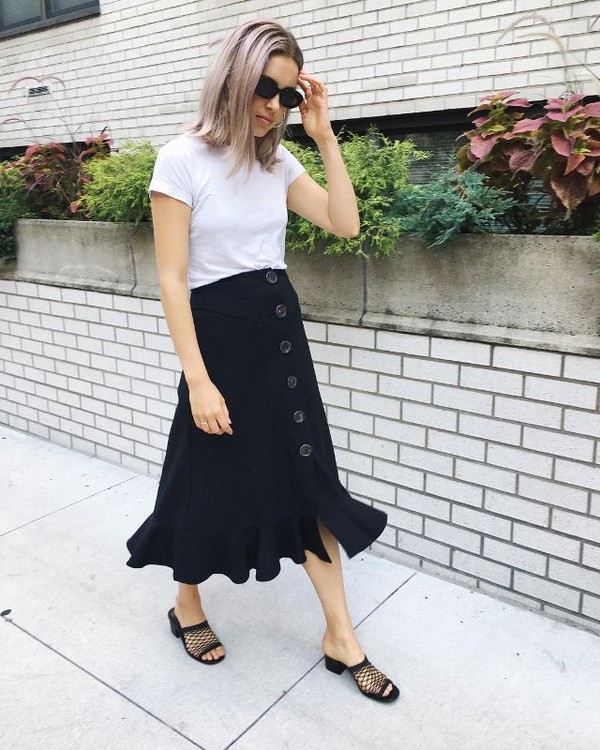 skirt midi skirt mules black mules shoes top white top sunglasses