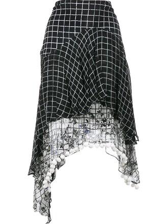 skirt print grid black
