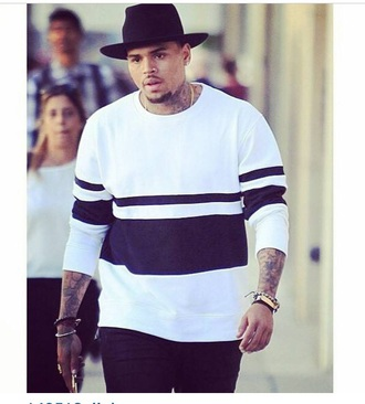 t-shirt chris brown menswear mens sweater black and white