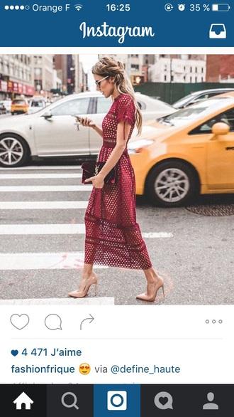 dress red red dress long dress streetstyle