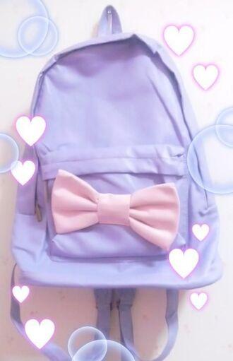 bag pastel kawaii cute pink pastel pink purple fashion backpack rucksack bow
