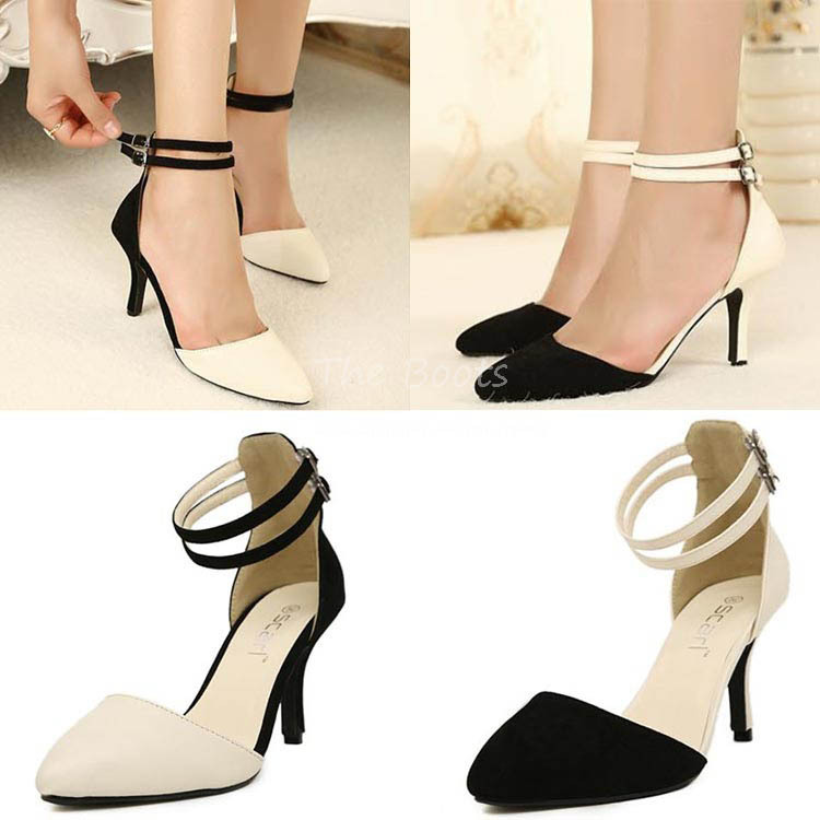 86729212ea 3 Inch Closed Toe Pointy Black And White Nude Pumps Beige Heels With Ankle  Straps Stiletto ...