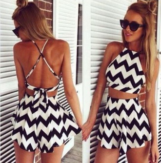 romper black cute white chevron black jumpsuit jumpsuit summer dress make-up spring break