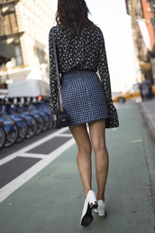 skirt,tumblr,blue skirt,printed skirt,mini skirt,shirt,printed shirt,bell sleeves,shoes,white shoes,thick heel,block heels,bag,houndstooth,spring outfits,outfit idea