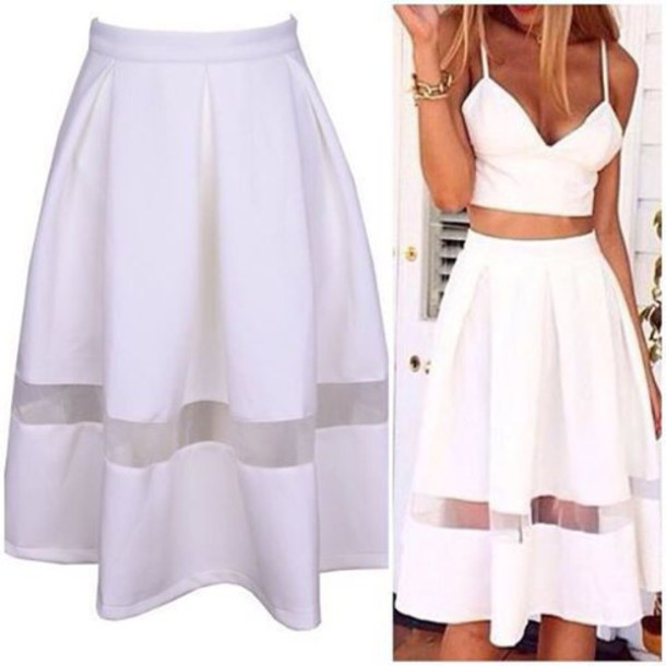 White Flowy Skirt - Skirts