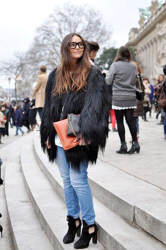 jacket coat fur fashion faux fur jacket faux fur jeans high heels heels boots glasses hair clutch envelope clutch cut out ankle boots shoes black fur jacket