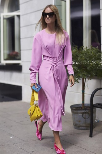 dress lilac dress boots bag yellow yellow bag lilac midi dress lavander dress streetstyle spring outfits